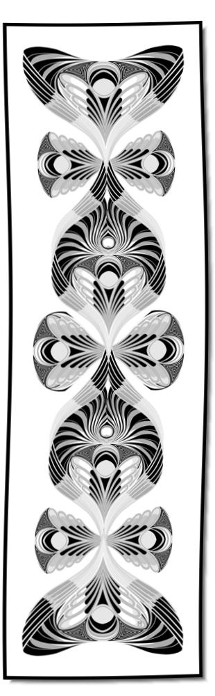 Artikel Nr. 2021 - Der Pfau - schwarz/weiß (180 x 55 cm)