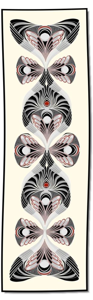 Artikel Nr. 2024 - Der Pfau - rot (180 x 55 cm)