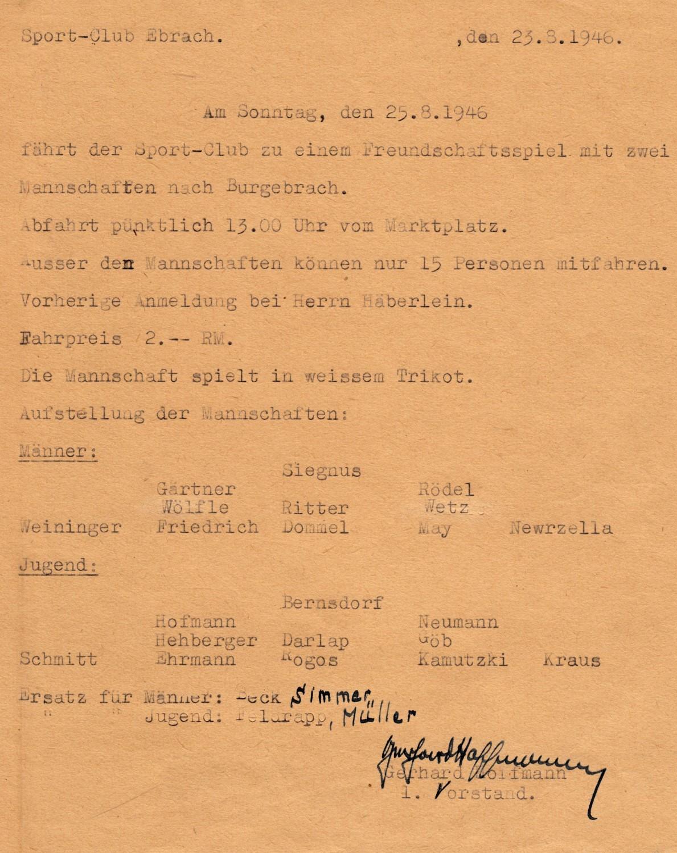 Wer war unsere Erste Fußballmannschaft 1946?