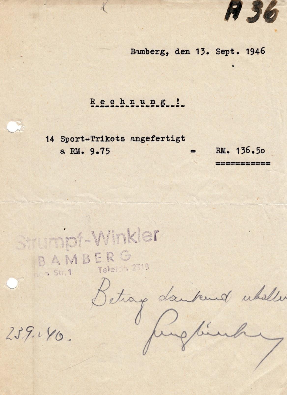 Was kosteten Trikots 1946?