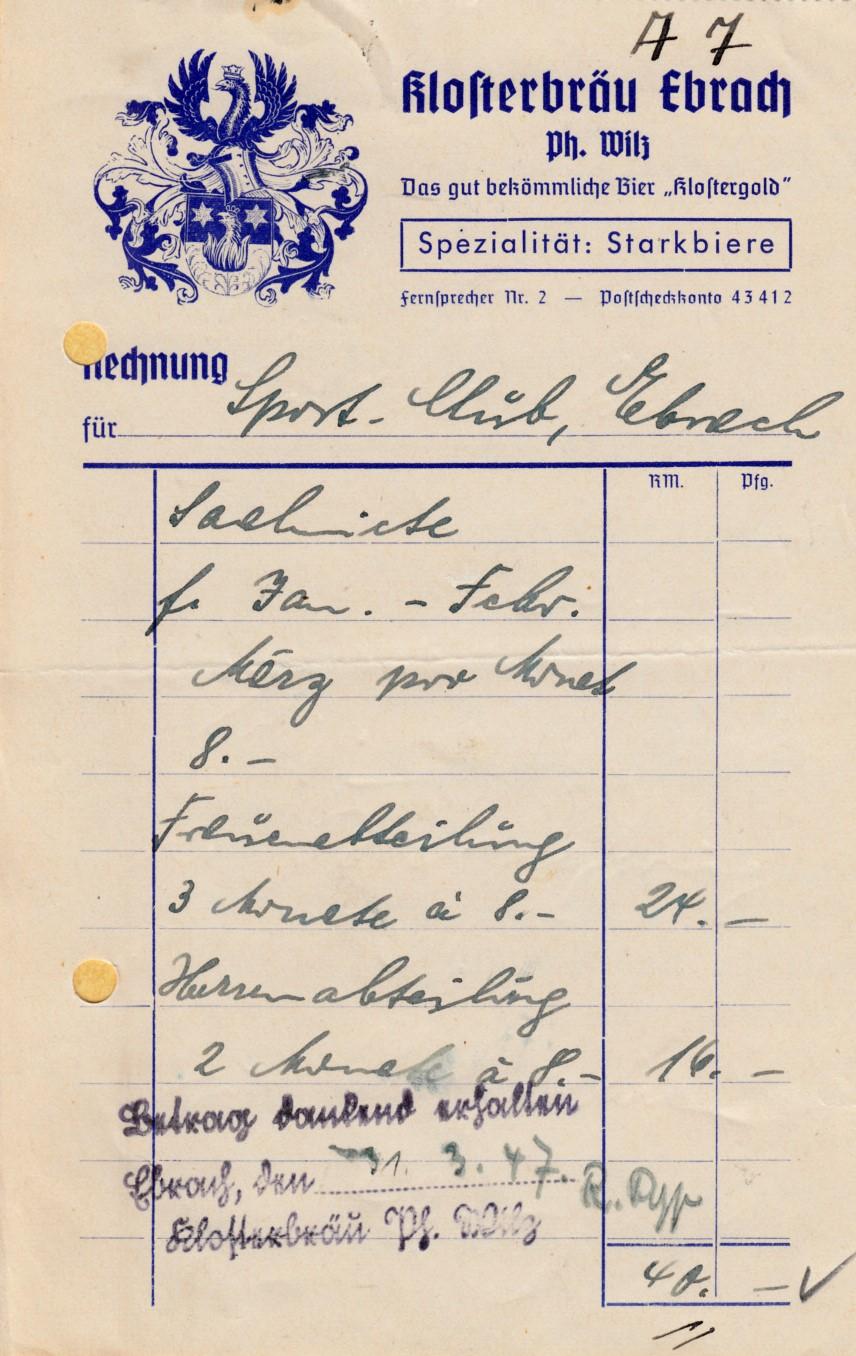 Was kostete unser Vereinslokal 1947?