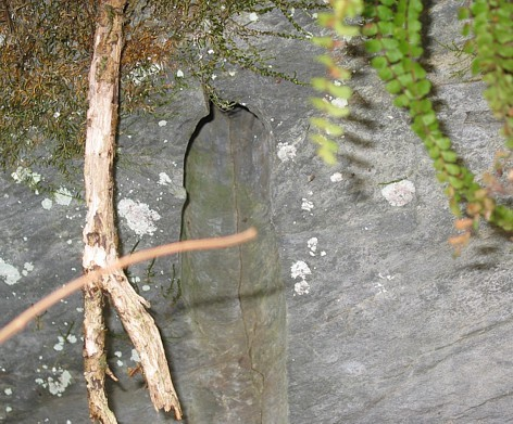 "Bohrlochpfeife an der Felswand: Hier wurde gebohrt und gesprengt (""geschossen"")!"