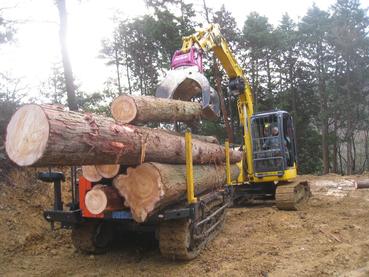 木材の小運搬~大型トラックで積めるところまで運びます