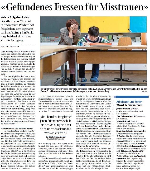 Quelle: Schaffhauser Nachrichten, 1. Oktober 2015