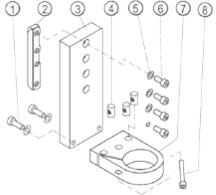 onderdelenschema wateropvangsysteem met schroefbevestiging voor boorstatief PKF 250