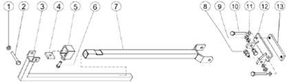 onderdelenschema steunmast voor nabouw op boorstatief PKF 250 masthoogte 820mm 1300mm 1960mm