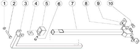 onderdelenschema steun boorstatief PKF 250 mast 820mm 1300mm 1960mm