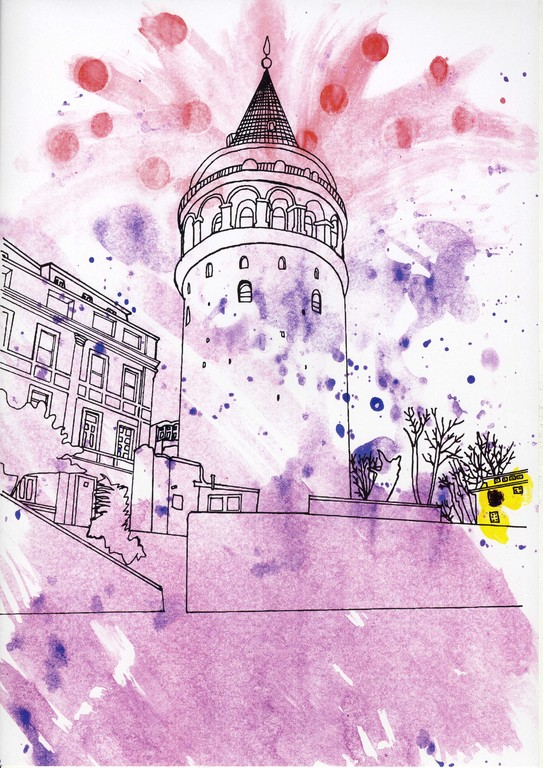 Galata Tower - Illustration for Orhan Pamuks Book ,,The black Book``