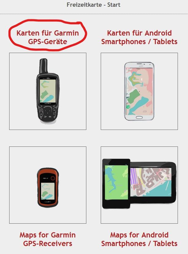 """Klick auf """"Karten für Garmin GPS-Geräte""""."""
