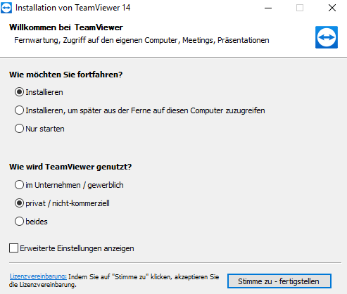 Screenshot TeamViewer: Optionen bei der Installation