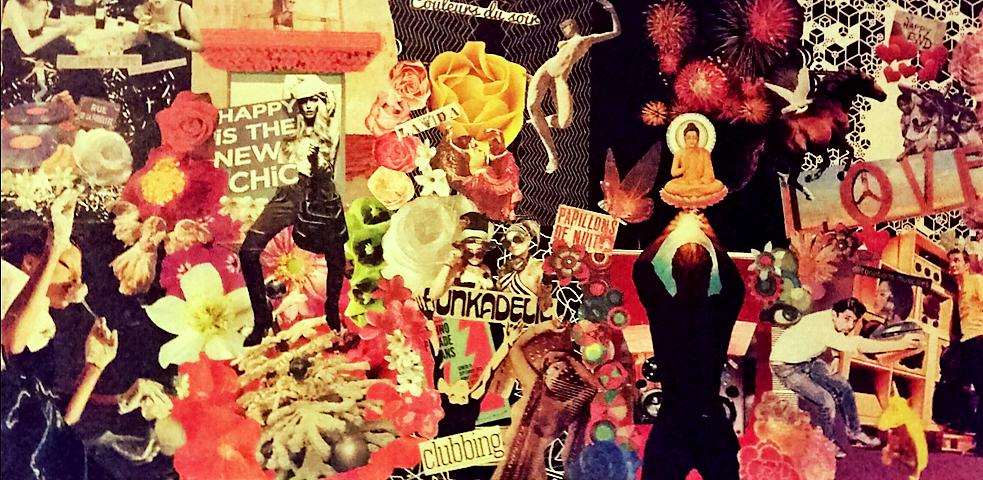 """tableau personnalisé, collage """"Couleurs du soir"""""""