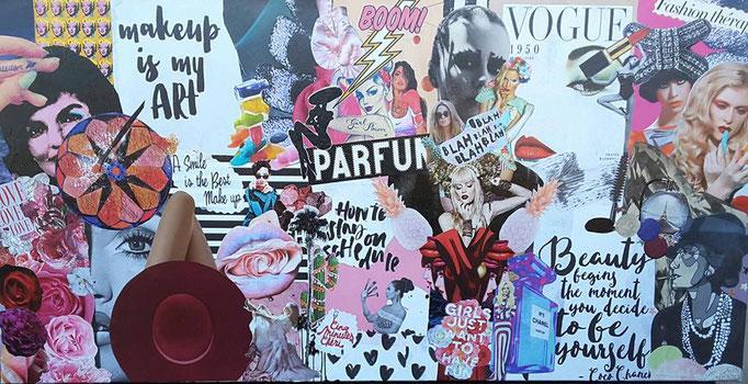 collage pour femme fashion qui aime la mode, la beauté, le maquillage et les parfums