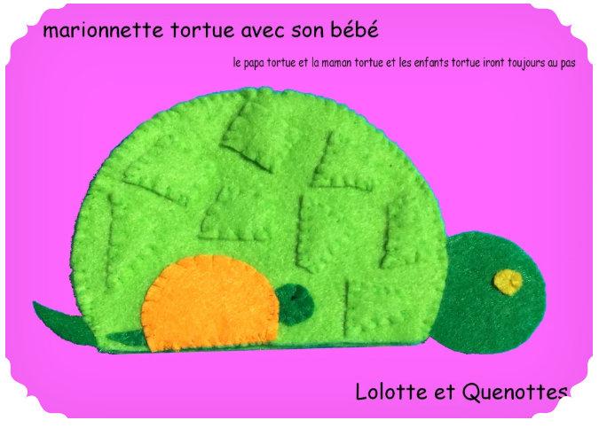 bricolage animaux lolotte et quenottes marionnettes feutrine tortue gabarit
