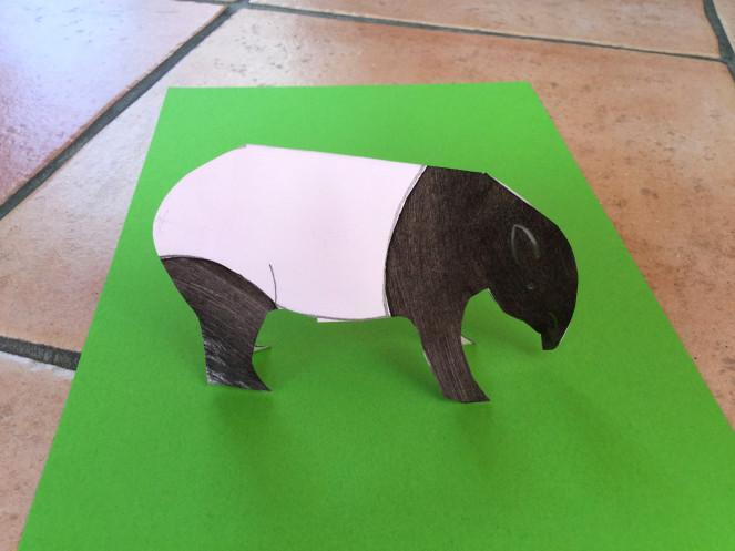 bricolage animaux lolotte et quenottes tapir papier collage decoupage coloriage
