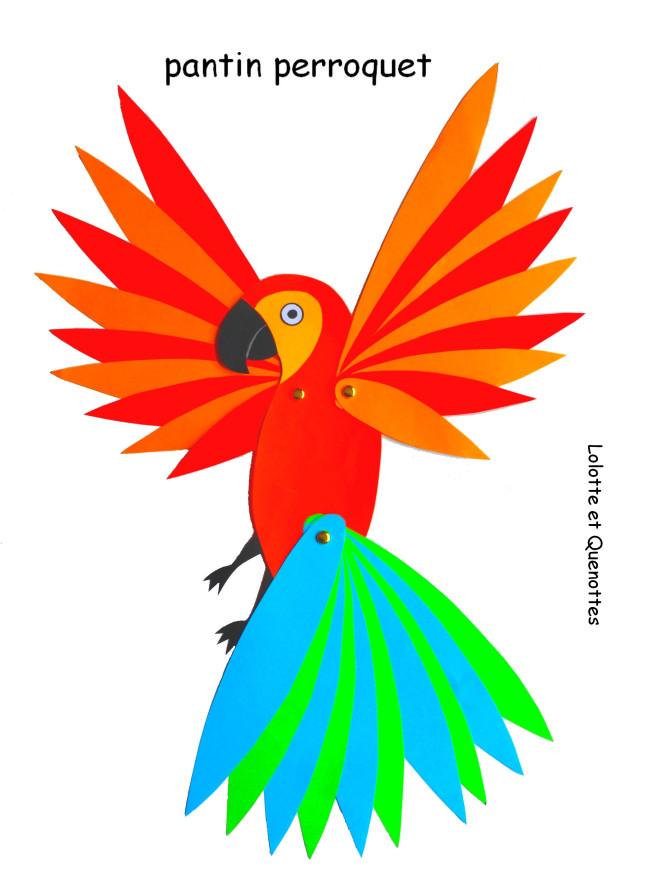 bricolage animaux lolotte et quenottes pantin articule perroquet ara