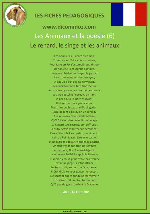 fiche pedagogique animaux et la poesie pdf le renard le singe et les animaux