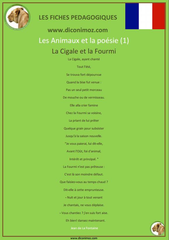 fiche pedagogique poesie cigale fourmi Lafontaine