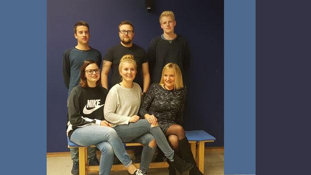 Oben: Silas Birk, Daniel Birk, Rahpael Schmoll   Unten: Kerstin Nock, Joana Tuschla, Susanne Droste (von links nach rechts)