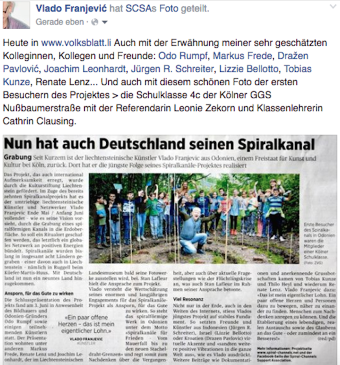 8.6.2016 - LIECHTENSTEINER VOLKSBLATT about Vlado Franjevics Spiral-Channel in Odonien, Cologne, Germany