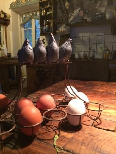 Wer hat schon so tolle Eier? Den schönen Eierständer habe ich letzten Sonnabend auf dem Buchholzer Wochenmarkt gekauft. Die Eier sind toll aufgehoben und ich habe noch vier neue Mini-Hühner.