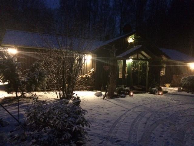 Winteridylle auf meinem Hof am Samstag-Abend.