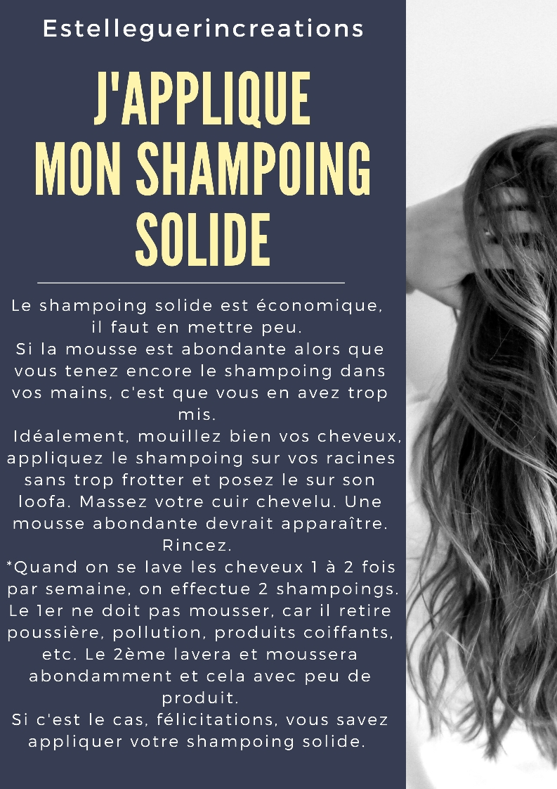 J'applique mon shampoing solide.
