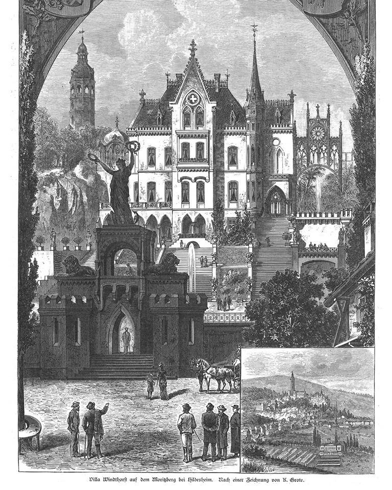 Gebäude der Villa Windhorst keine reale Ansicht stilisiert und mit Symbolen überzeichnet, Löwenstatuen viele Treppen die nicht existieren