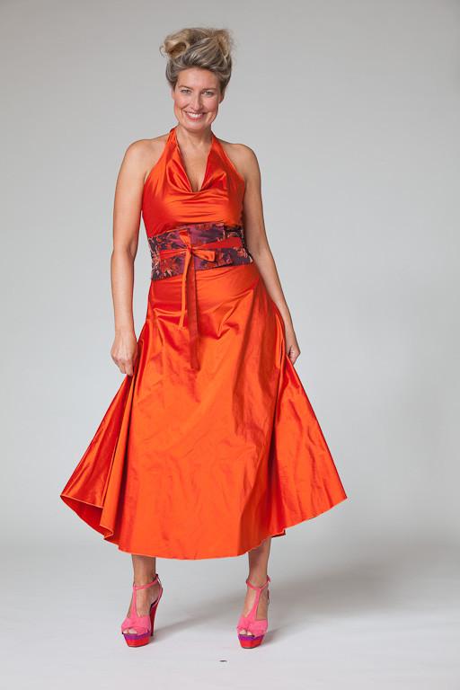 """Abendkleid, Cocktailkleid """"Sternentanz"""" aus Seide in orange"""