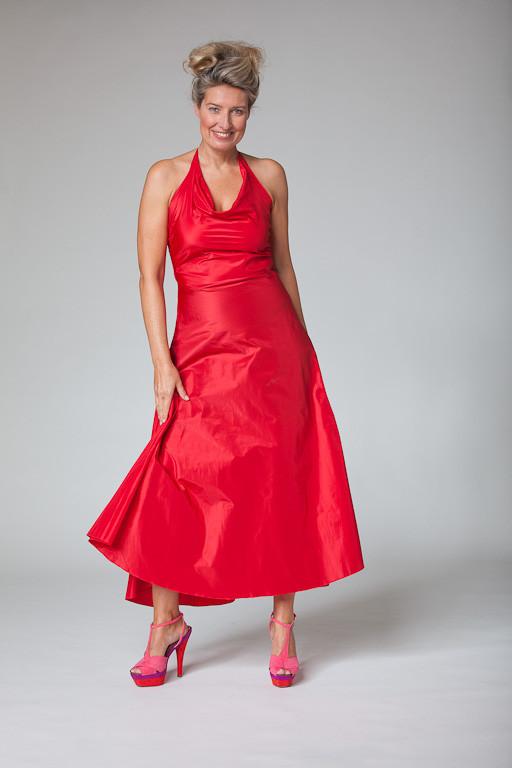 """Abendkleid, Cocktailkleid """"Sternentanz"""" aus Seide in rot"""
