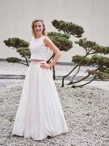 Hippie Brautkleid Zweiteiler mit kurzem Spitzentop aus Baumwollspitze