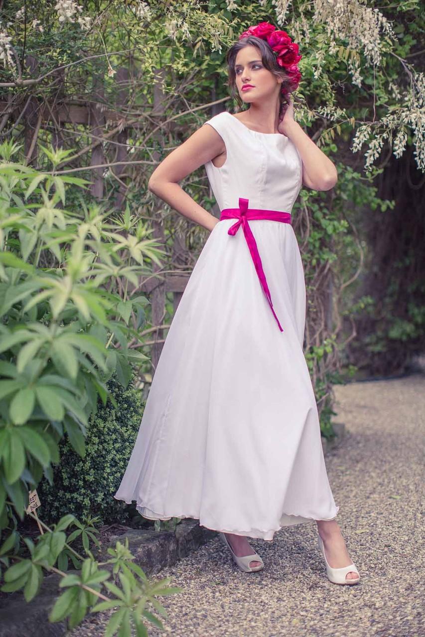 """knöchellanges Brautkleid """"Sonnentochter"""" aus Biobaumwolle mit Chiffon"""