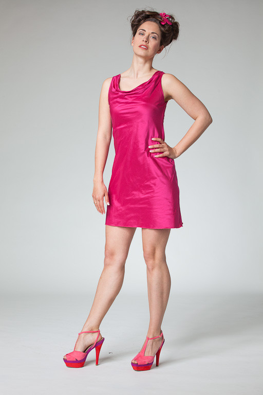 "Abendkleid, Cocktailkleid ""Yal"" aus Seide in pink"
