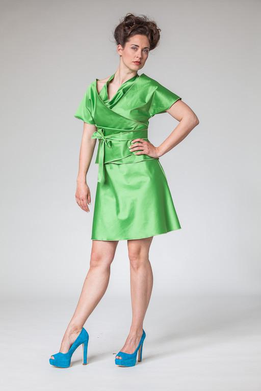 """Abendkleid, Cocktailkleid """"Sternentanz"""" in grün mit Wickeljacke"""
