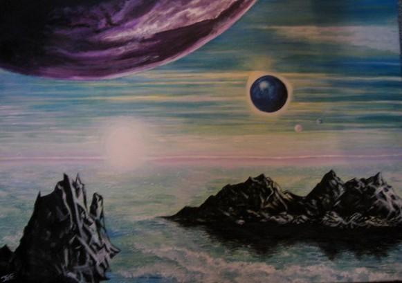 mystische Landschaft, Wasser und Erde.