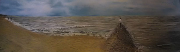 Nordseepanorama   100cm x 30cm   Acryl  auf Leinwand  im Keilrahmen