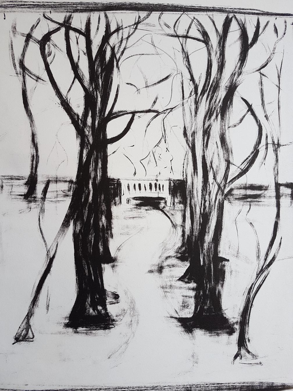 Die weiße Bank, Lithographie, 2000