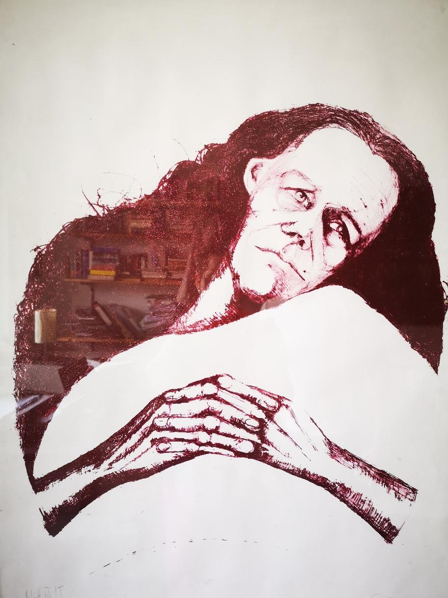 Kranke Frau, Lithographie 1999