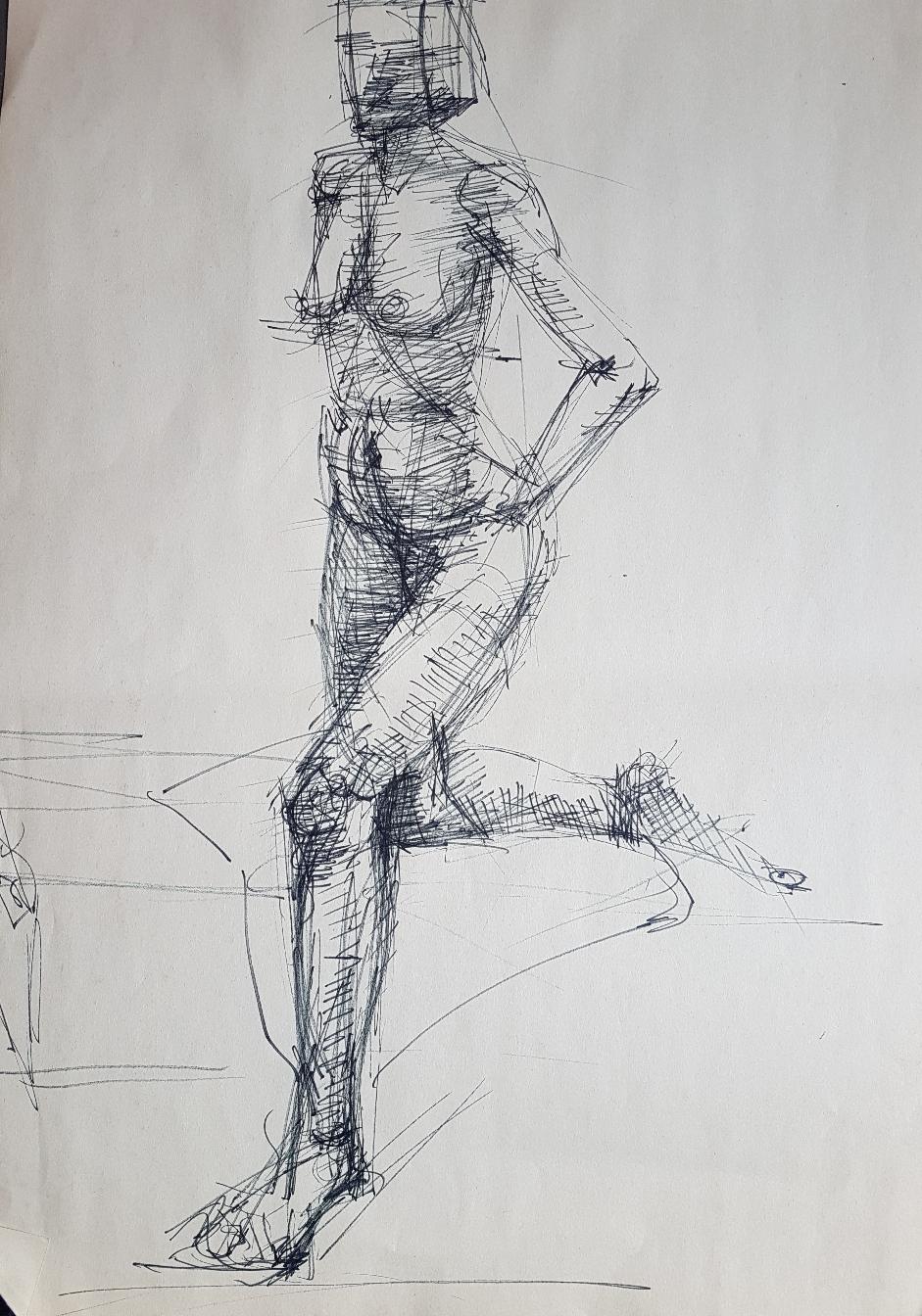 Alte Frau, Bleistift auf Papier, 1995