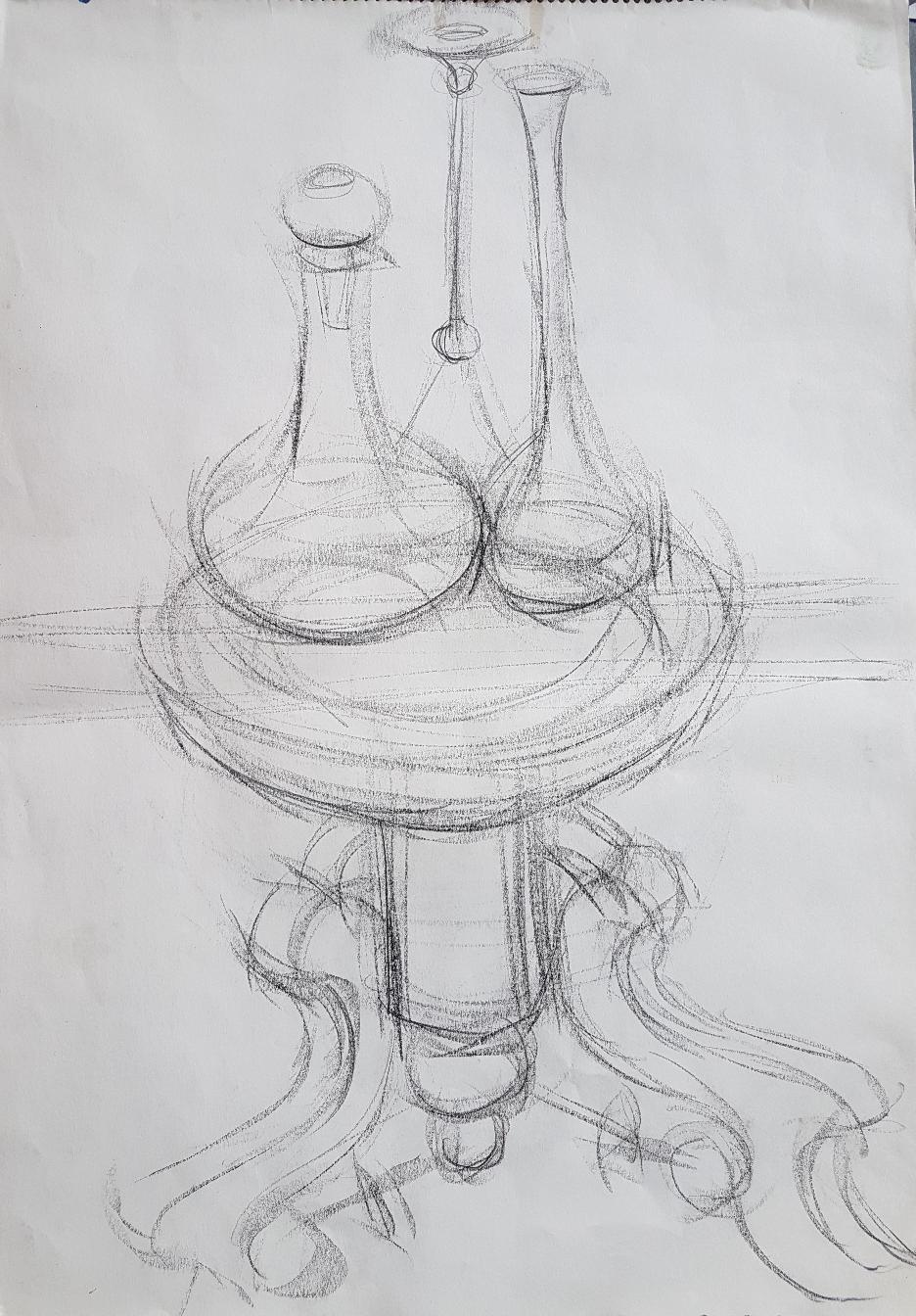 Vasen, Bleistift auf Papier, 1994