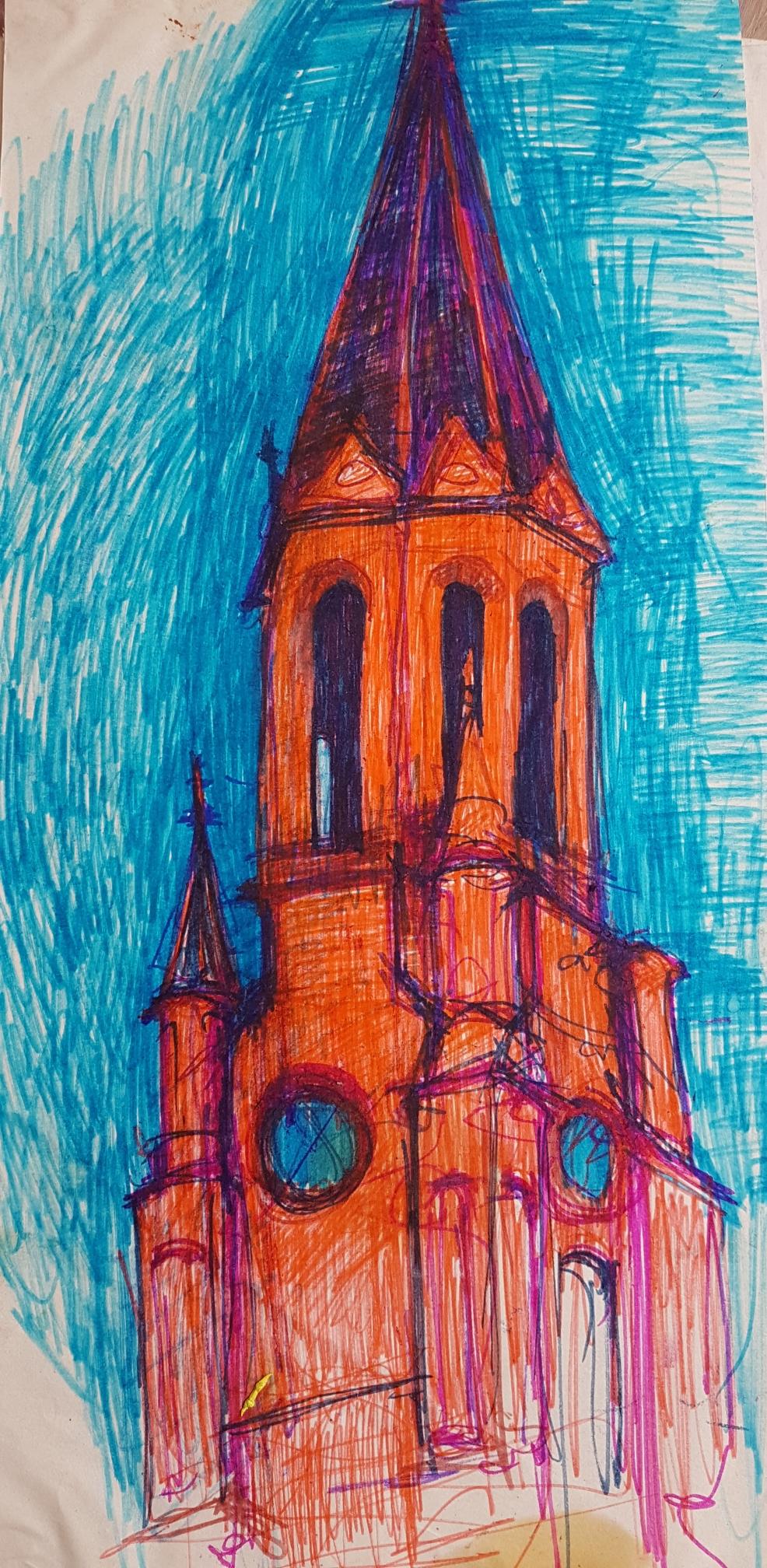 Kirchturm in der Nacht, Filzstift auf Papier, 1997