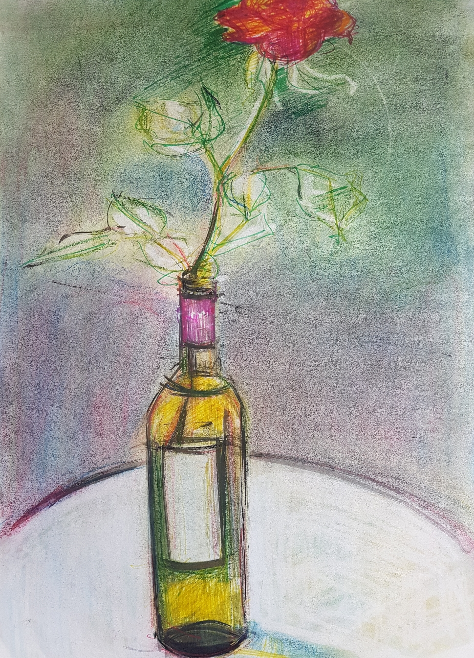 Stillenden mit Rose, Ölkreide auf Papier, 1996