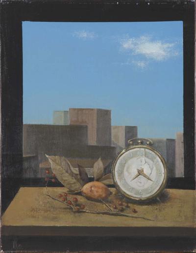 図版6 時計のある風景 制作年不詳