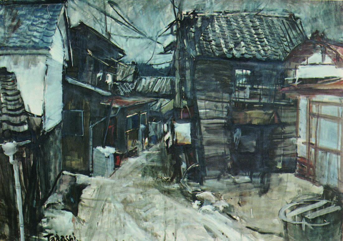 「坂道の家」1971 制作・水彩