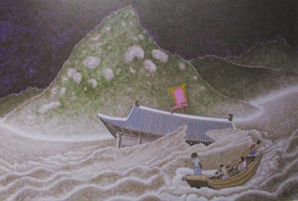 Hon Sung-Dam(ホン・ソンダム)《洪水》2015 キャンバスにアクリル絵具130×194cm