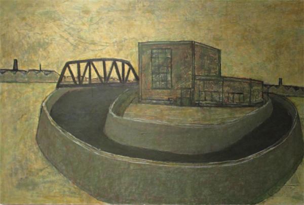 「橋のある風景」2017 ベニヤ・油彩 92×60㎝