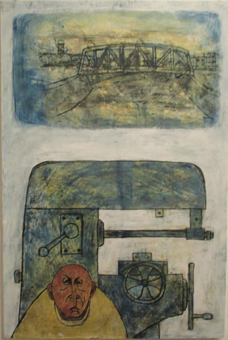 「機械と人」2,017 ベニヤ・油彩 92×60㎝