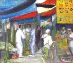 「広州風景」 米良武子  油彩20号