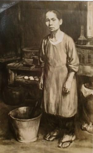 母の立像 50号 油彩