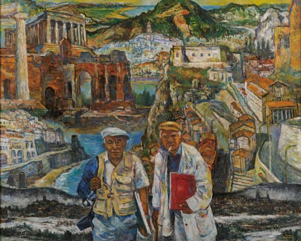 画家二人-南イタリア・スケッチの旅から- 2006年 F150号