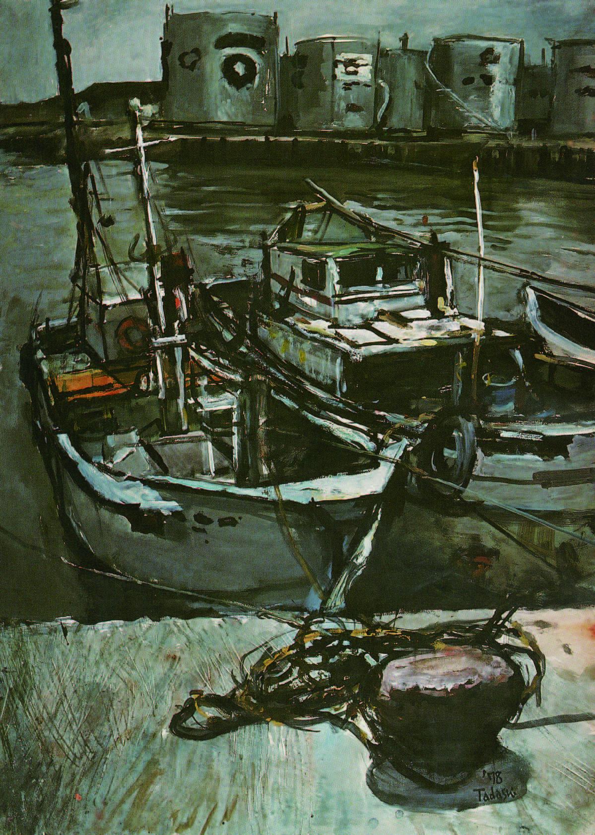 「昼下がりの港」1978 制作・水彩